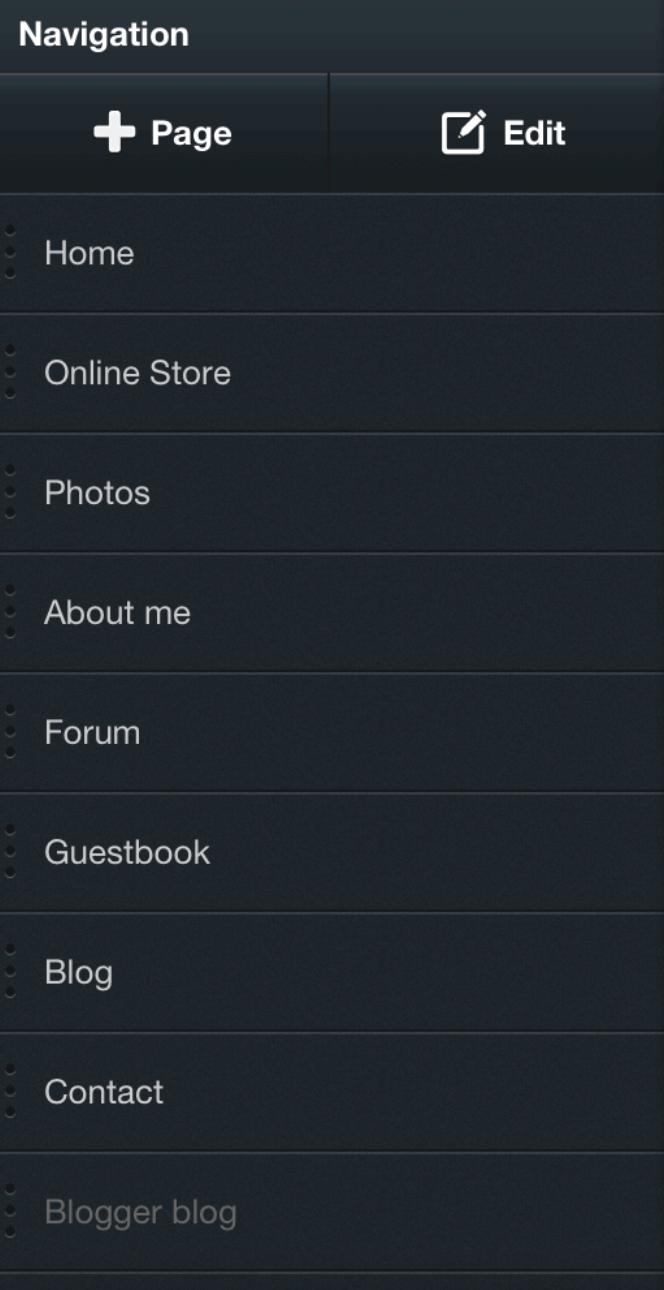 Ein klassischen Dashboard eines Homepage Baukastens auf dem Smartphone.