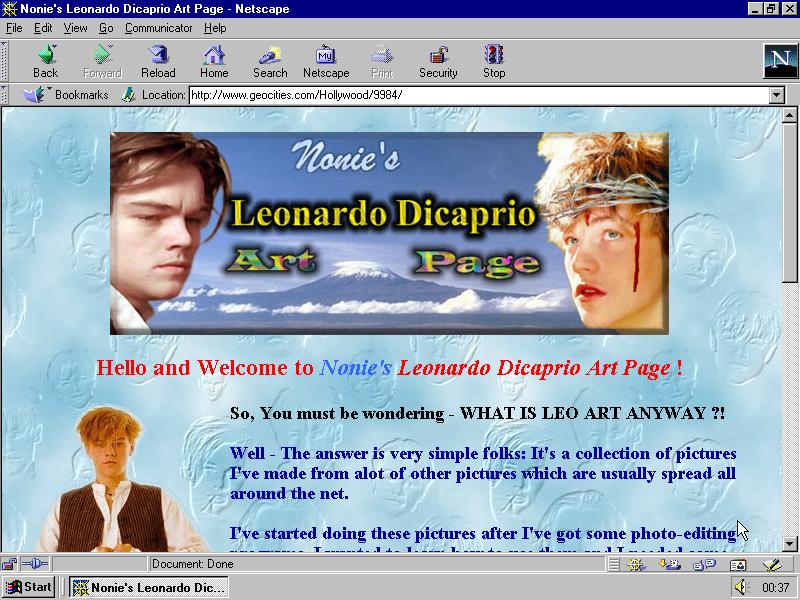 Heute belächelt, damals der Gold Standard der Homepage Baukasten: Eine Geocities Fanpage.
